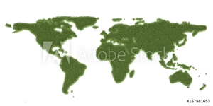 Bild på Ecology world map, from green grass. 3D rendering